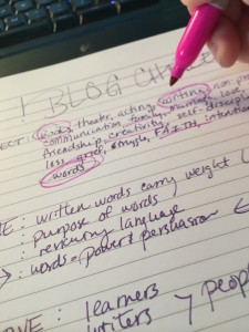 intentional blogging notes